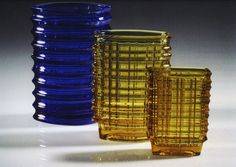 Eryka and Jan Drostowie, Vases, designed by Jan Sylwester Drost, produced by the… Bitter Lemon, Art Case, Pressed Glass, Retro Art, Stained Glass Windows, Mid Century Design, Poland, Shot Glass, Glass Art