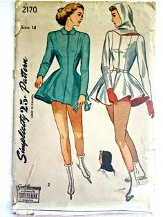 Misses Skating Costume Peplum Jacket Shorts and Hood Vintage Sewing Pattern Simplicity 2170 Size 14
