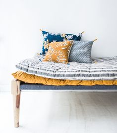 French Vintage Home Goods Shop - Super Marché, Home Accessories, How to Shop Vintage Furniture the French Girl Way. Vintage Furniture, Furniture Design, Mustard Bedding, Rattan Daybed, Bleu Indigo, Textiles, Cushions, Pillows, Home Decor Accessories