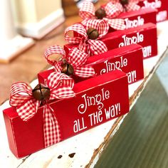 Jingle Bell Block – Wooden Christmas Sign – Jingle All the Way – Rustic Holiday Decor – Mante. Jingle Bell Block – Wooden Christmas Sign – Jingle All the Way – Rustic Holiday Decor – Mantel or Bookshelf Decor – Home Accent, Christmas Blocks, Christmas Wood Crafts, Christmas Signs, Diy Christmas Gifts, Christmas Projects, Holiday Crafts, Christmas Holidays, Christmas Crafts To Make And Sell, Christmas Ideas