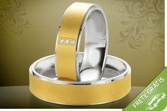 Par de alianças em ouro e prata, com garantia eterna e gravação de nomes e datas, por apenas R$499.99