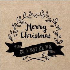 Stijlvolle kerstkaart met kraft design, zwarte tekst en organische vormen zoals takjes en krans. Alles is te bewerken!
