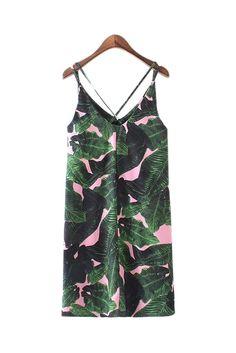 Goodnight Macaroon 'Faith' Tropical Palm Print Dress