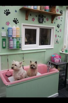-REpinned- Dog grooming tub room.