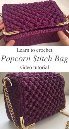 Learn how to make this trendy crochet popcorn stitch bag! Not only is it easy to stitch, but the bag itself is the most elegant and comfortable crochet bags I have made. LEARN HOW TO CROCHET POPCORN S Crochet Bag Tutorials, Crochet Instructions, Crochet Handbags, Crochet Purses, Crochet Cats, Crochet Birds, Crochet Food, Crochet Animals, Popcorn Stitch