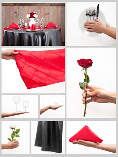 Charcoal and Red #Wedding #Tablescape grid
