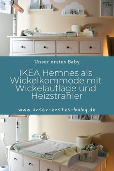 IKEA Hemnes als Wickelkommode mit Wickelauflage und Heizstrahler IKEA Hemnes as a changing table with changing mat and radiant heater Baby Room Furniture, Diy Furniture Plans, Farmhouse Furniture, Antique Furniture, Baby Ikea, Ikea Kids Room, Radiant Heaters, Baby Zimmer, Changing Mat