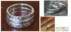 Sterling silver band rings, 'Together' (set of 3) at The Animal Rescue Site