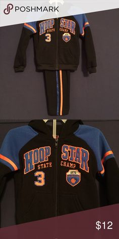 BOYS BASKETBALL TRACKSUIT NWT boys back tracksuit trimmed in blue and orange. Super cute! 100% polyester Mad Game Extreme Sports Matching Sets