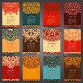 Legen Sie retro Visitenkarte Einladung. Vektor. Alte dekorative Elemente. Handgezeichnete Hintergrund. Islam, Arabisch, Indisch, osmanische Motive — Stockvektor #74641603