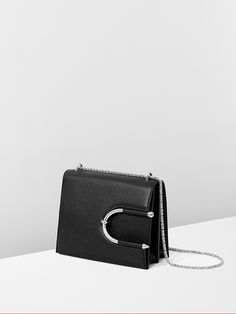 Black pebble calf leather and silver chain #ChokerBag for #MuglerFallWinter