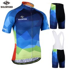 SIILENYOND Gareth 100% Polyester Summer Cycling Jersey Maillot Ropa Ciclismo Bicycle Sportswear Man's Mountain Bike Clothing Set ** Find similar products on AliExpress website by clicking the VISIT button