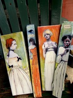Tall paintings on wood planks by Heather Murray