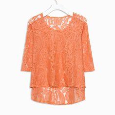 Peachy Orange Lace Top
