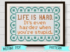 Funny Cross Stitch Pattern John Wayne Quote Easy Instant Download by LindyStitches on Etsy https://www.etsy.com/listing/222419782/funny-cross-stitch-pattern-john-wayne