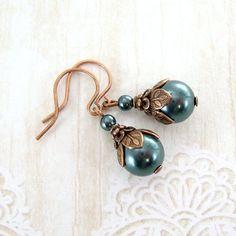 Vintage style jewelry Long drop earrings Purple jewelry Teardrop earrings Antique brass earrings Marbling earrings Natural stone earrings