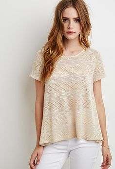 Crochet-Paneled Loose Knit Top | Forever 21 - 2002248063