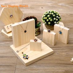 Items similar to 1 Set Natural Wood Square Shape Ring Earring Necklace Bracelet Display Holder / Jewelry Display Cabinets / Jewelry Supplies on Etsy Wood Jewelry Display, Jewelry Display Stands, Bracelet Display, Ring Displays, Jewelry Stand, Wooden Jewelry, Jewellery Display, Jewelry Holder, Silver Jewelry