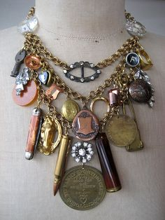 Vintage Necklace  Charm Necklace Steampunk Necklace by rebecca3030, $249.00