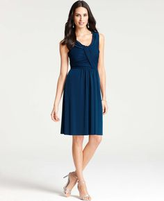 Ann Taylor - AT Bridesmaid Dresses - Satin Jersey Draped Scoop Neck Dress - Color: Blue Waltz