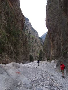 Walking the Samaria Gorge is a great achievement. The Gorge of Samaria is also known as Samaria Canyon & is the biggest of the Crete gorges and one of the best Greek Islands tourist attractions. Best Greek Islands, Crete Greece, National Parks, Bucket, Hiking, Country Roads, Europe, Sea, Outdoor