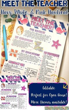 Meet the Teacher Newsletter perfect for Open House or Back to School night! Great for all grade levels and subject areas! Editable! Nautical theme with navy, white and pink!
