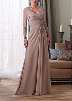 Elegant Chiffon A-line Strapless Neckline Mother of the Bride Dress With A Jacket