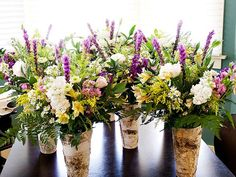 Not these flowers or colors, but we do have the birch vases that make wonderful aisle bouquets that can then be repurposed in the reception September Wedding Flowers, Country Wedding Flowers, Neutral Wedding Flowers, Wedding Flower Decorations, Flower Bouquet Wedding, Wedding Ideas, Wedding Arrangements, Wedding Centerpieces, Flower Arrangements