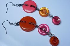 Bright Pink and Red summer Button Earrings from the Button Earring Collection.