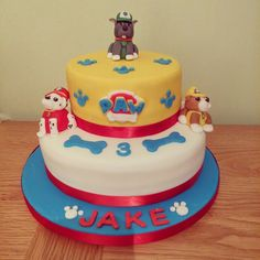 Paw Patrol cake with Rocky, Rubble and Marshall