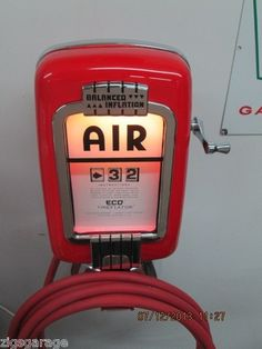 gas station with air pump. vintage original eco air meter tireflator old service station.oil and gas pumps station with air pump h
