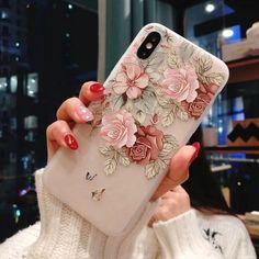 3D Relief Flower Flamingo Leaf iPhone Case