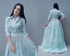 "Luxury jacquard dress with embroidery ""Morning sky"" Dresses handmade. Luxury jacquard dress with embroidery 'Morning sky'. My Livemaster. Abaya Fashion, Modest Fashion, Fashion Dresses, Abaya Mode, Mode Hijab, Indian Designer Outfits, Designer Dresses, Dress Outfits, Prom Dresses"