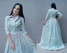 73fa40c0841 Dresses handmade. Luxury jacquard dress with embroidery  Morning sky .  KVITKA. My. Livemaster