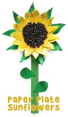 Make an adorable sunflower craft for kids with some cheap paper plates, black beans and a little paint.