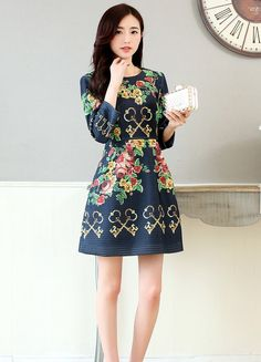Women's navy #blue one piece skirt #dress with flower pattern print, elegant style, round neck, long-sleeved.