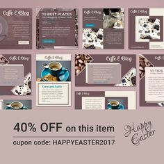 Happy Easter to all of you.  40% OFF on this item either. Save time and money on your social media campaign with these fully customizable templates.