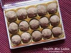 Health Mix Ladoo or Sathu Maavu Ladoo is an easy to make sweet that can be prepared in a jiffy. With Diwali nearing, I wanted something sweet and healthy y