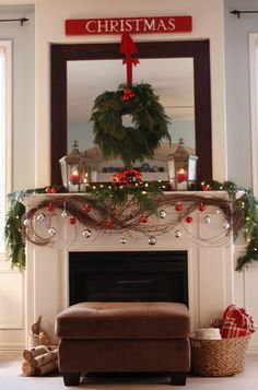 Love most parts of this mantel.....would do without the red and silver balls, I think.....
