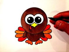 How to Draw a Cute Turkey What you'll need for the Cute Turkey: Pencil Eraser Compass Brown Marker Light Brown Marker Red Marker Orange Marker Yellow Marker . Fall Drawings, Cartoon Drawings, Cute Drawings, Thanksgiving Drawings, Thanksgiving Crafts, Drawing For Kids, Art For Kids, Crafts For Kids, Easy Turkey Drawing