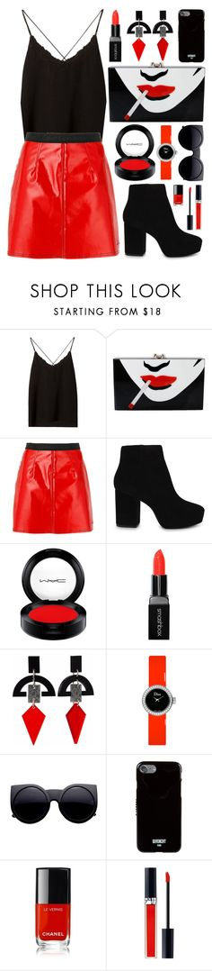"""""""Statement Bag"""" by virginia-laurie ❤ liked on Polyvore featuring Massimo Dutti, Charlotte Olympia, Calvin Klein Jeans, ALDO, MAC Cosmetics, Smashbox, Toolally, Christian Dior, Givenchy and Chanel"""