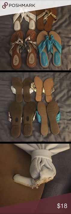 Bundle of sandals Two new two wore a few times. The white and the blue are 5 1/2. The gold and silver are 6. Some marks and wear on them mostly from storage. Any questions please ask. Make offers 😁 Merona Shoes