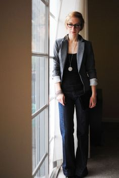 blazer, tee, pendant necklace, trouser jeans. smart and chic.