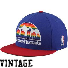 Mitchell   Ness Denver Nuggets Hardwood Classics Vintage Logo Two-Toned  Fitted Hat - Royal Blue Red f36aa0abbb9c