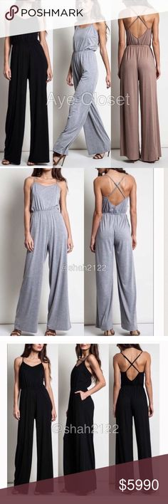 Sexy wide leg pants jumpsuit romper jumper dress ‼️only MOCHA is available‼️Price is firm unless bundled  New with tags retail item. sexy jumpsuit jumper catsuit dress, high waisted wide leg pants,crisscross back.backless open back style . Adjustable straps. Elastic waist.  ⭐high quality Material , -super comfy and stretchy fabric. Boutique Pants Jumpsuits & Rompers