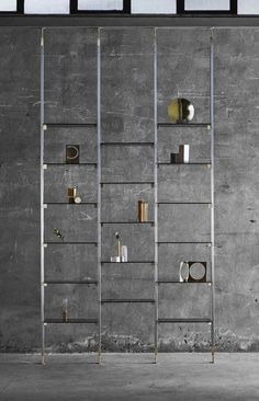 Marianne shelving system by Federica Biasi - Photo by Matteo Imbriani - Courtesy of Mingardo. Italian Interior Design, Contemporary Interior Design, Home Interior Design, Interior Decorating, Milan Furniture, Furniture Design, Pipe Furniture, Small Studio Apartments, Modern Apartments