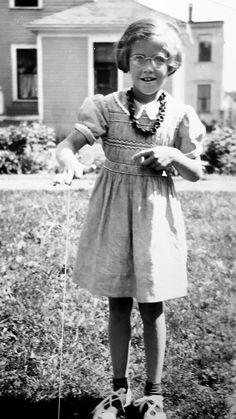 Mom (Frances) playing with a yo-yo.  Bangor (circa 1941)