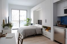 See inside NYC's first micro apartment building transforming furniture for tiny spaces Carmel Place Bed Micro Apartment, Tiny Apartments, Tiny Spaces, Small Rooms, York Apartment, Studio Apartments, Apartment Living, Appartement New York, Appartement Design