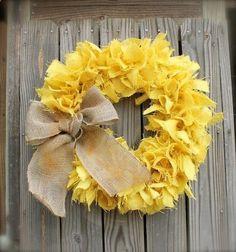 Burlap Wreath Gold Yellow Mustard Spring