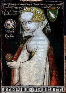 Mary de Bohun (c. 1368 – 4 June 1394) was the daughter of Humphrey de Bohun,7th Earl of Hereford, and Joan Fitzalan (1347/48–1419),the daughter of Richard FitzAlan,10th Earl of Arundel and Eleanor of Lancaster.She married Henry Bolingbroke,future King Henry IV of England,but at the time of this, his first marriage,he was not in direct line of succession to the throne. Mary was never queen, as she died before Henry came to the throne.